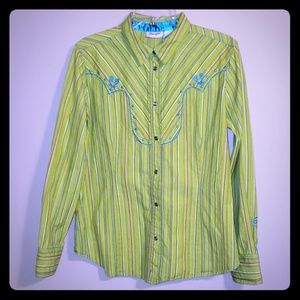 Green striped embroidered wrangler western top